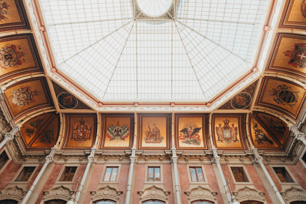 The ceiling of the main hall in Palacio da Bolsa - each panel represents a country that trades with Portugal