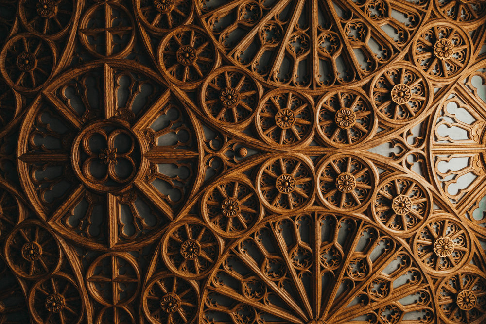 Detail of the wood carving at Livraria Lello
