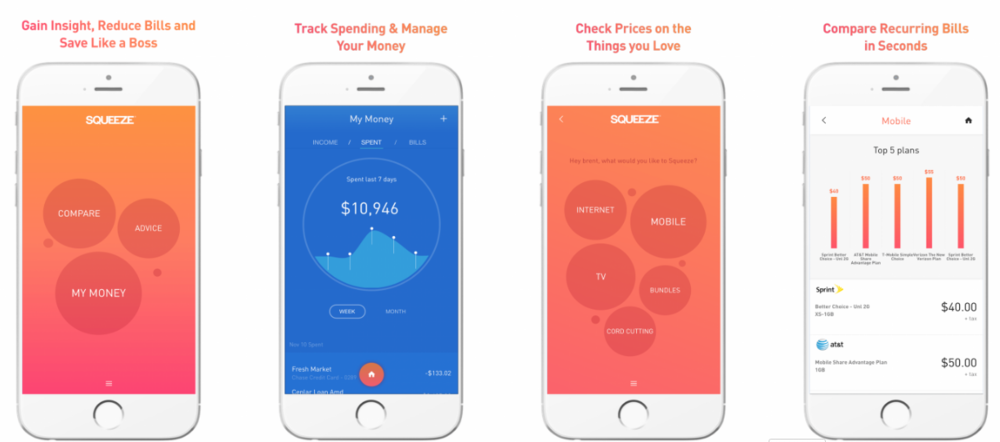 See where your money is going with the easy to use Squeeze app.