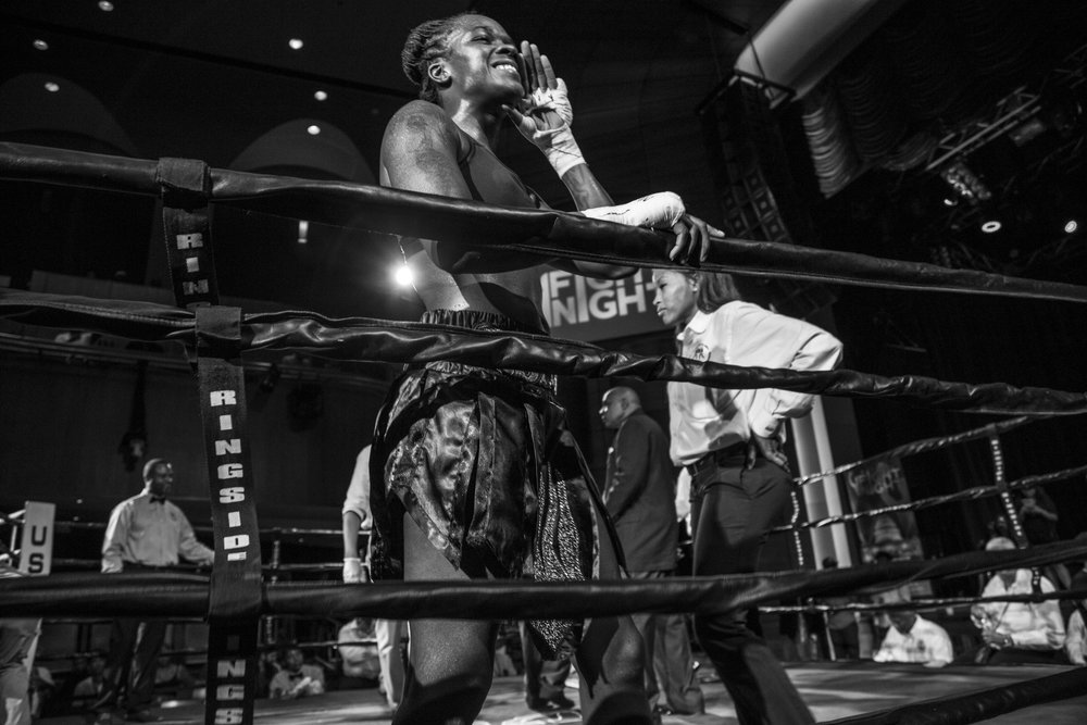 Tiara yells to supporters after winning her second fight by knockout at the Howard Theatre in DC. She holds a 3-0 record, and lacks opportunities to fight due to her opponents backing down.