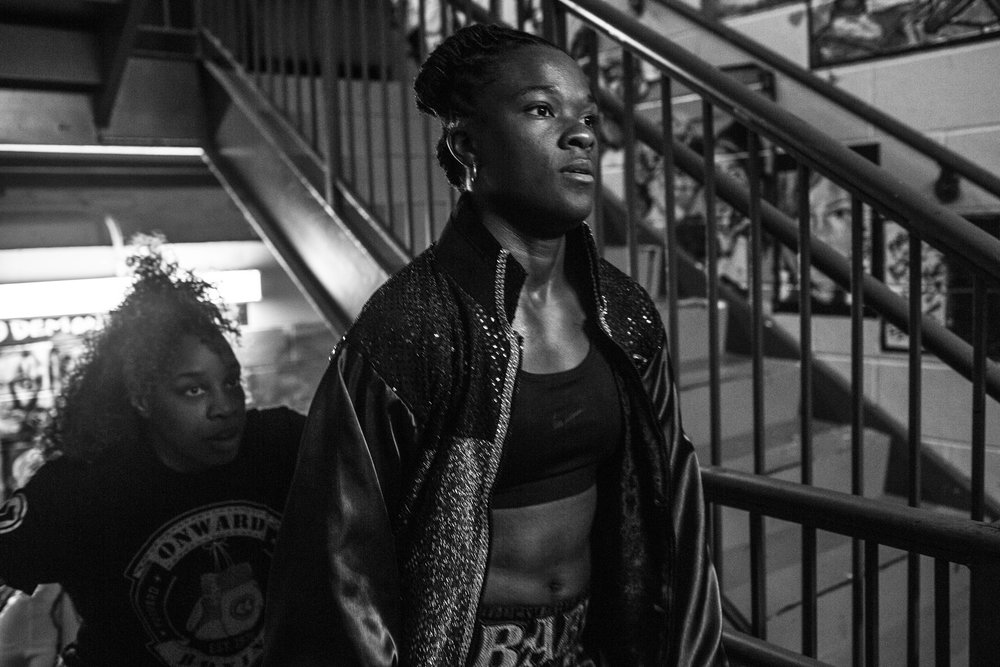 Tiara makes her way into the ring at the Howard Theatre, where she won by knockout in the second round,maintaining a 3-0 record.