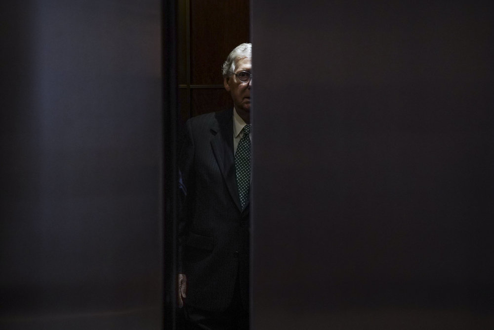 "Senate Majority Leader Mitch McConnell arrives for the so-called ""Gang of Eight"" classified briefing on Capitol Hill."