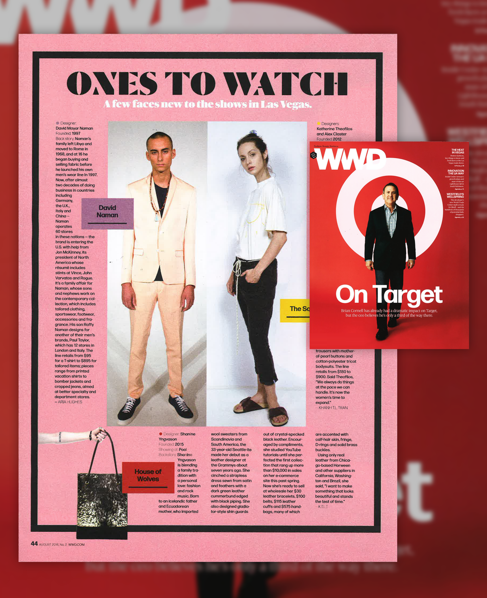 WWD August 2016, Issue.  MAGIC Feature for Ones To Watch.