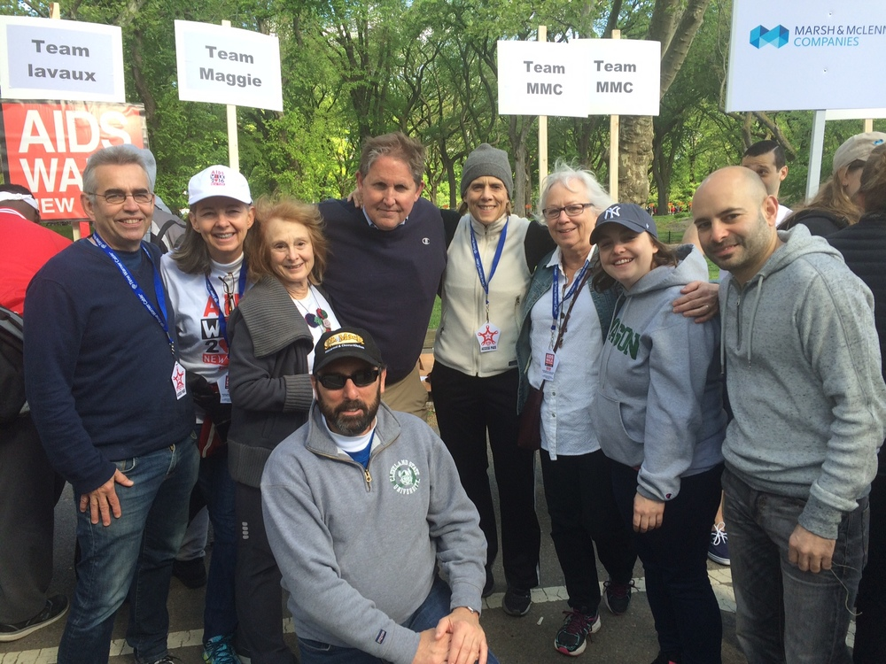 Team  Maggie , NYC AIDS Walk 2016, l to r  :  Bill Craig, Lori Andrews, Janet Horowitz, Dave Evans,  Maggie  Kneip, Michele Craig, Joanna Craig, Kambiz Shekdar, David Kaufman.(Missing from photo: Jane Hammerslough, Ezra Palmer, Roseann Armenti, Eric Grossman.) Thank you, all!