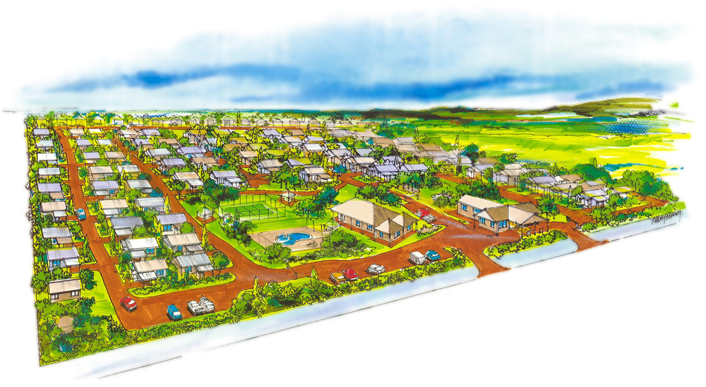 The Original Artist's Impression of Wavecrest Village at the sesign Stage