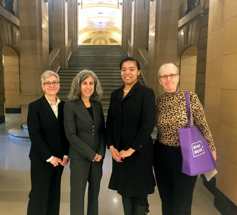 (l to r) Nan Madden, Minnesota Budget Project director; Tracy Fischman, P+P executive director; Angel, P+P customer; and Mary Zweber, P+P volunteer