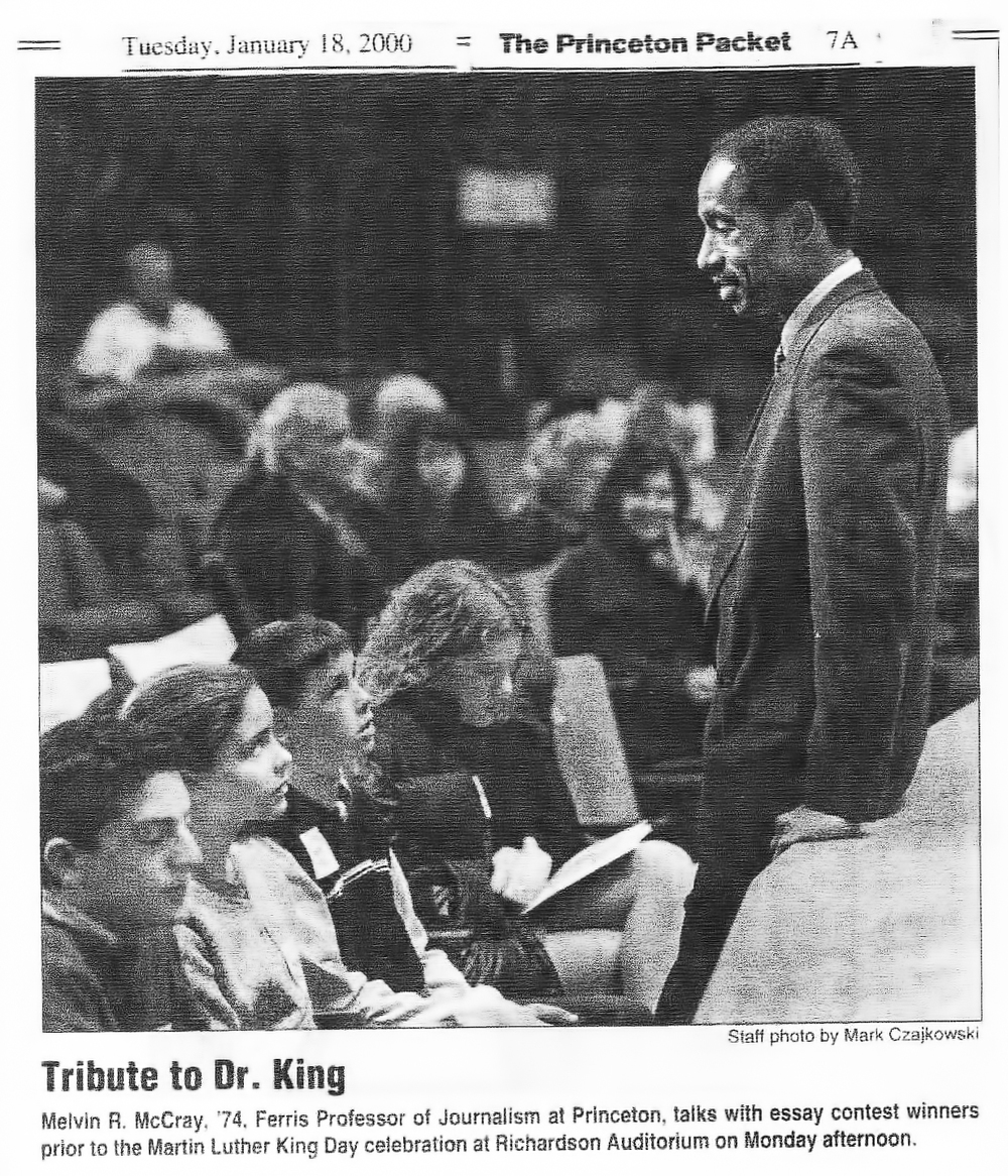 teaching at princeton university melvin mccray iii mccray delivers the keynote address at princeton s annual martin luther king jr day ceremony in 2000