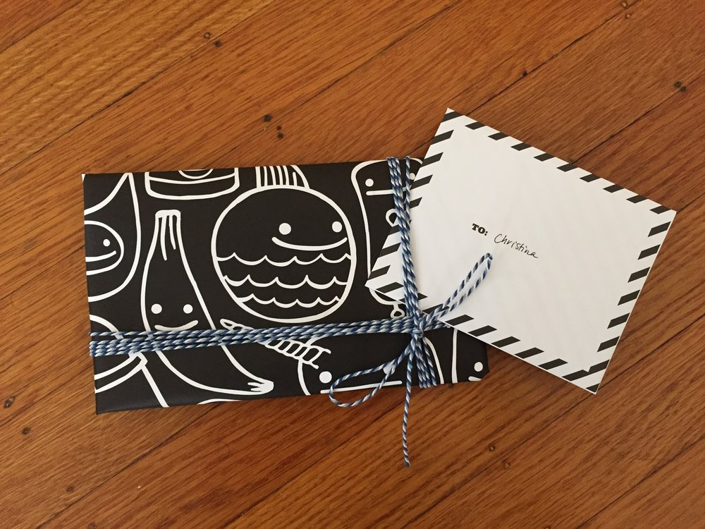 Happy Friend Time Black Wrapping paper in action!