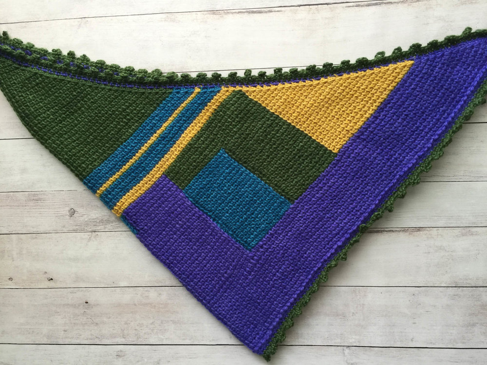 "46""W x 26""H, Alpaca Scarf in a mix of violet, blue, yellow, and green"
