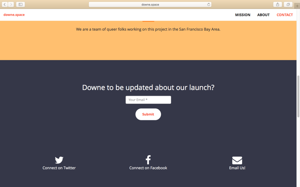 The landing page for a in-progress web app side project.