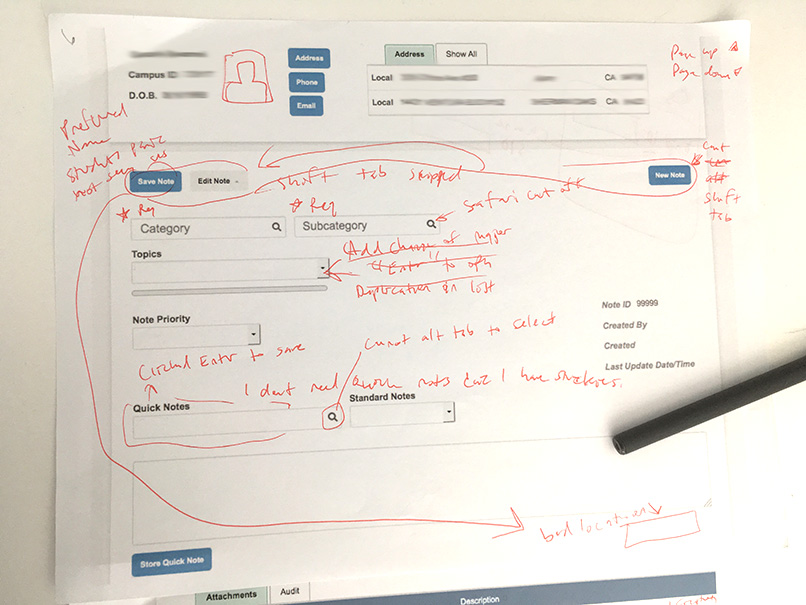 usability testing notes