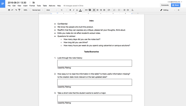 Script and Notes kept within Google Docs