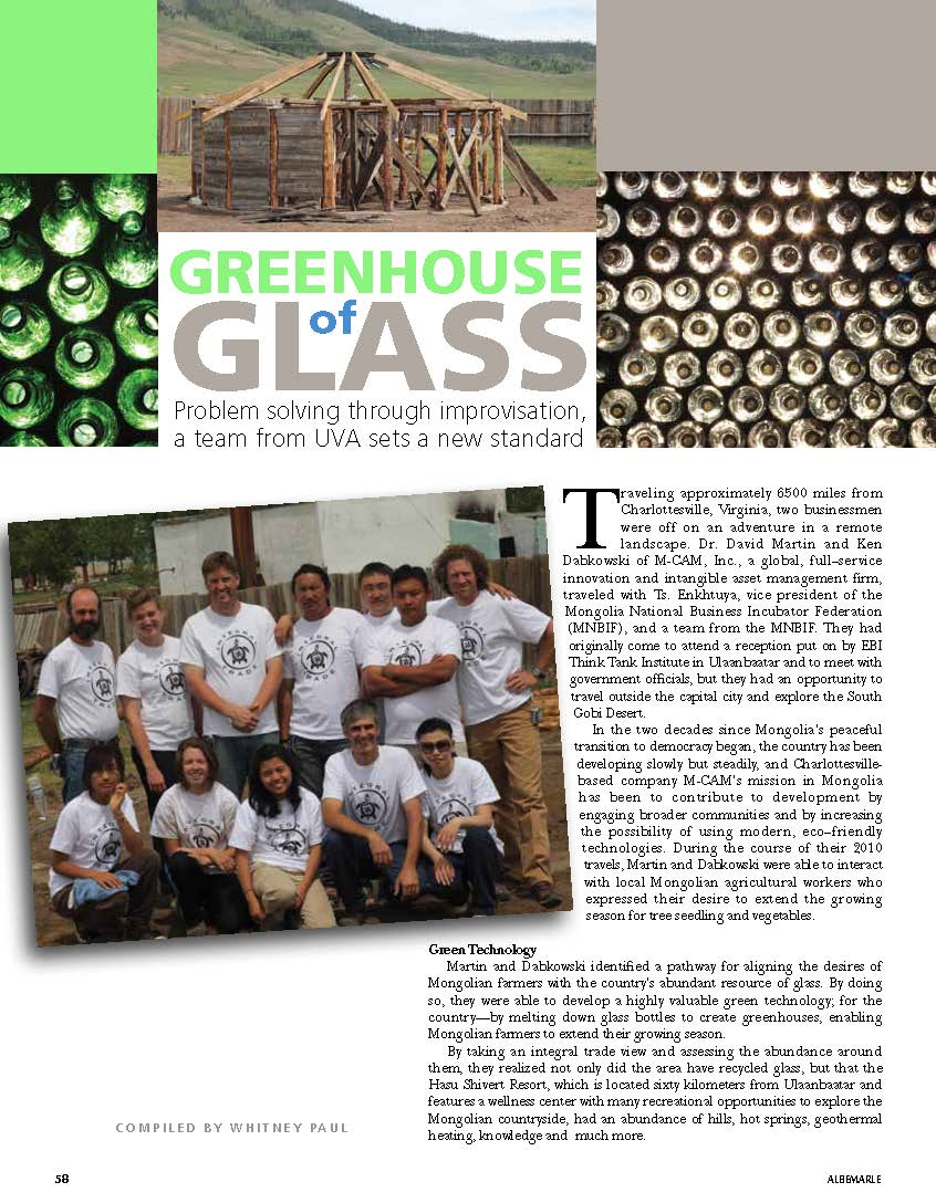 Bill Hess featured recycled glass consultant for Mongolian greenhouse-Albermarle Magazine_Page_1.jpg