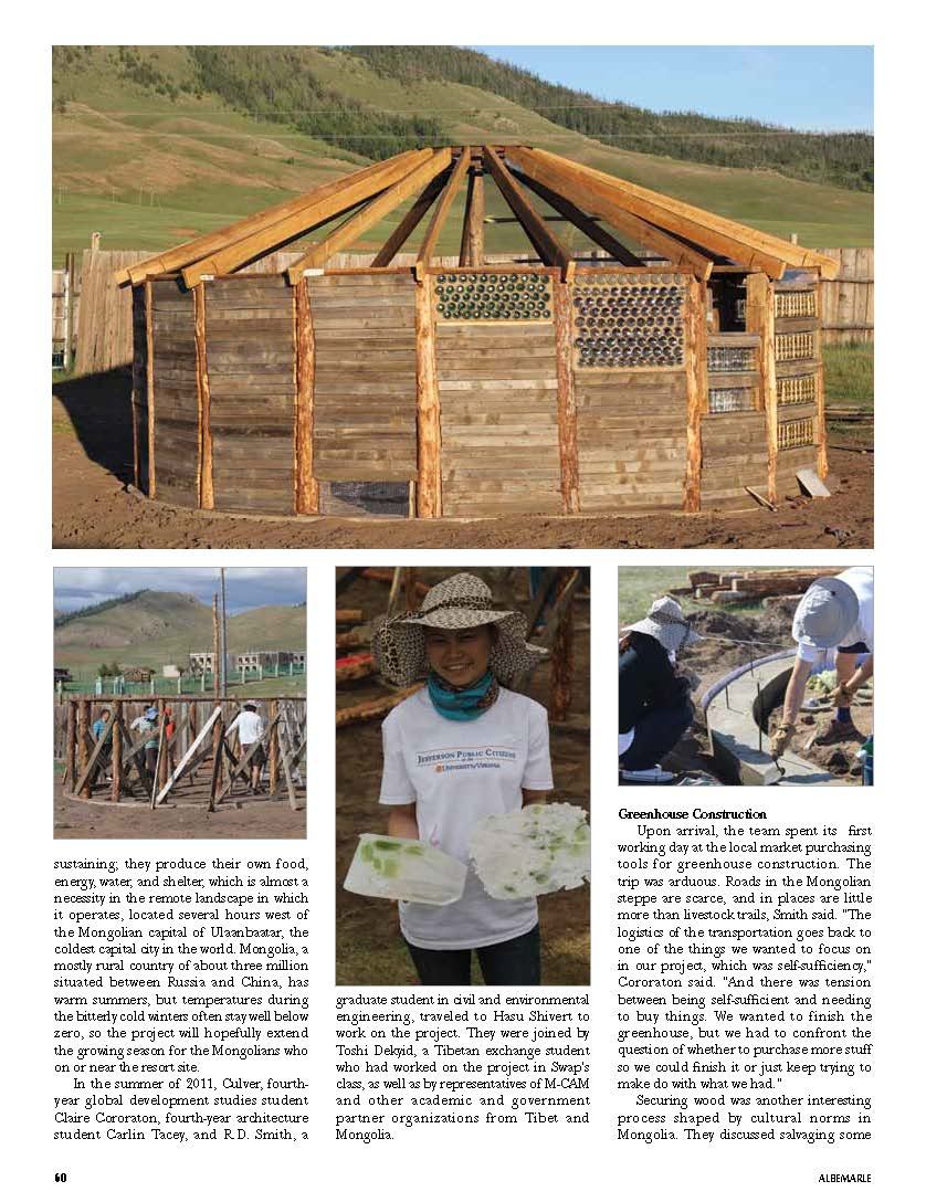 Bill Hess featured recycled glass consultant for Mongolian greenhouse-Albermarle Magazine_Page_3.jpg