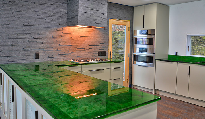 Recycled Glass Kitchen Counters