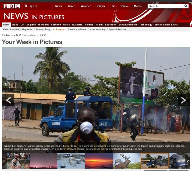 Your week in pictures - Lome unrest, BBC 2013