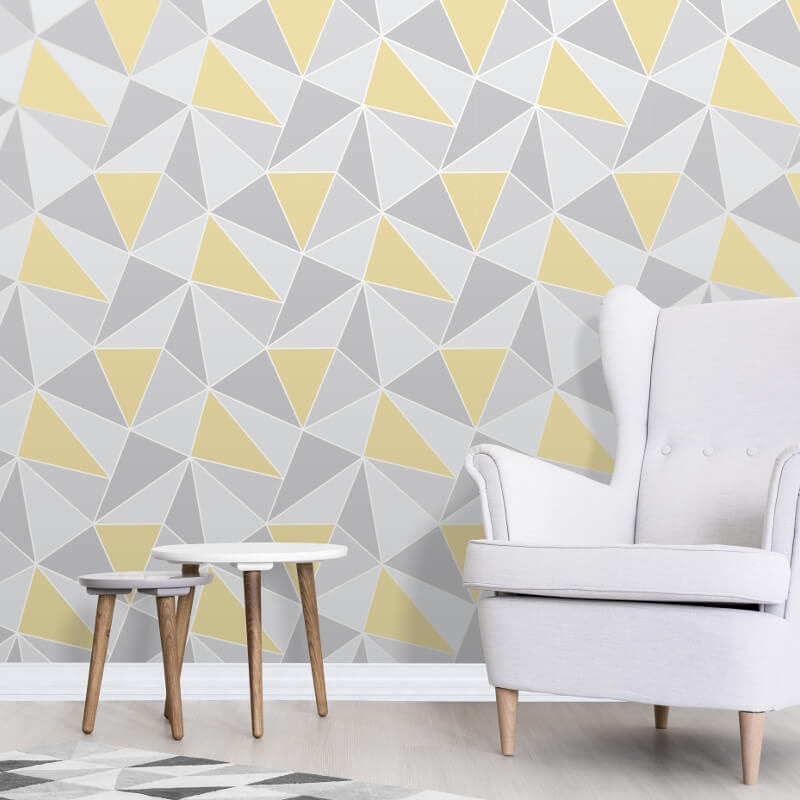 Brilliant Apex Geo In Yellow And Grey Wallpaper By Fine Decor Home Beutiful Home Inspiration Xortanetmahrainfo