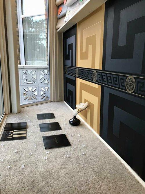 99aa10686fc Versace Greek Key Wallpaper in Black and Gold