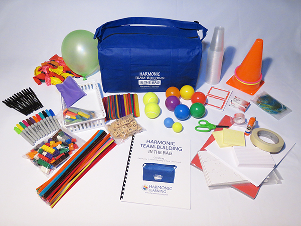 Harmonic Team-Building: In the Bag. This kit contains everything needed for 40 fun and meaningful activities.