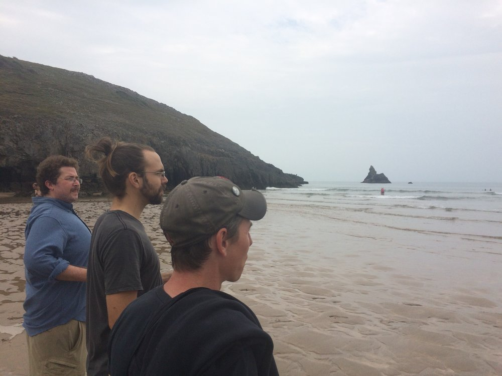 Ben, Graham, PF (not pictured) and Jake weigh the benefits of swimming and contemplate shrinkage at Stackpole Estates.