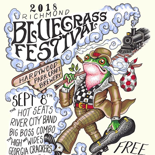 Looming forward to the #richmondbluegrassfestival at Hardywood this Saturday. Come bust down!