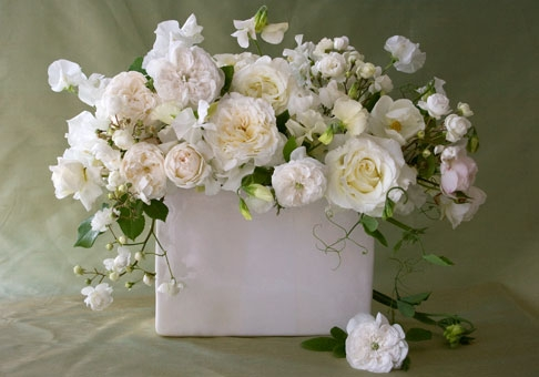 Roses & Sweet Peas in White