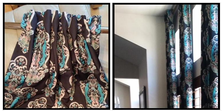 Azure Elizabeth Design Vintage Bird Fabric in Teal & Black A E Design