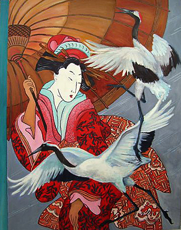 Geisha with Umbrella and Flying Cranes
