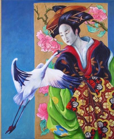 Geisha with Peonies