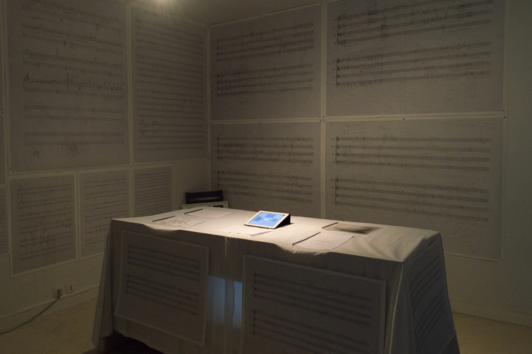 Des Script (2014) - During the process of composition, I used to make blueprints of the design of structures, pitches, articulation, and register prior to making an actual composition. The blueprints also include texts and images of the sections' emotion evolvements. There are also considerable amounts of text accompanying the manuscripts. However, the final editions of the scores are usually typed digitally before handed out to the musicians. The musicians then perform the music for the audiences. For the audiences in the concerts, they experienced the rendition of the works in a limited amount of time. I exhibit the manuscripts, and rises the possibility of showing the audiences the entire processes in a completely different space. There are music manuscripts with sound Interactive devices, plans and photos. Visitor can listen to the finished music corresponding to the manuscripts in which you are interested on the wall by touching the button on the Ipad.Media: Ink on archival paper, computer, Ipad, Speakers, Magnets Software: Max/MspPlace: Cité internationale des Arts, Atelier 5621, June 17,18 2014