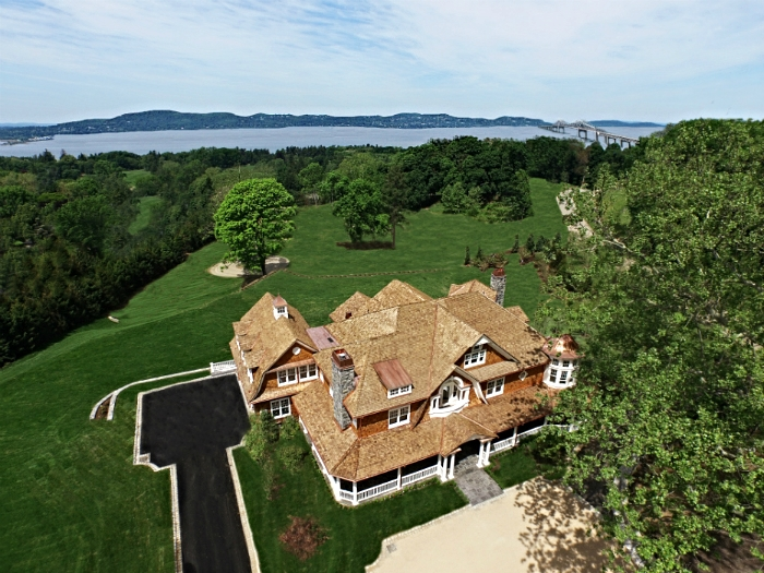 Aerial view of a house in Tarrytown, NY