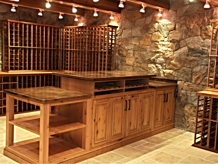 Custom, wine lift with a copper top in a Bedford house