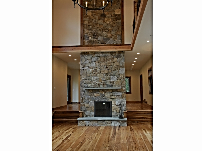 Fireplace built with native stone in Bedford, NY