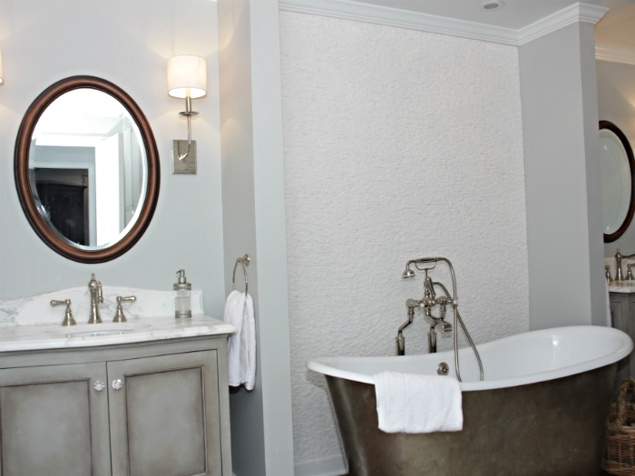 Scarsdale tudor with custom vanities and faux painted, free-standing Waterworks tub