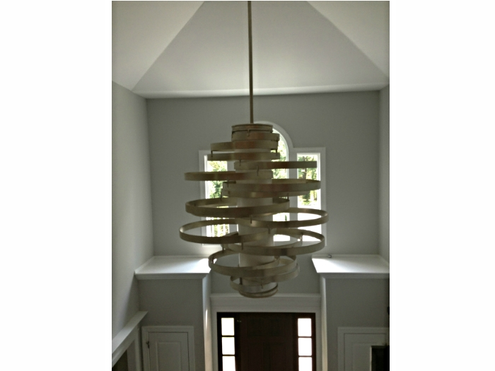 Foyer light fixture in a house in Irvington, NY