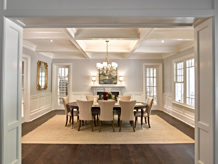 Coffered ceilings and moulding detail in a Tarrytown, NY dining area