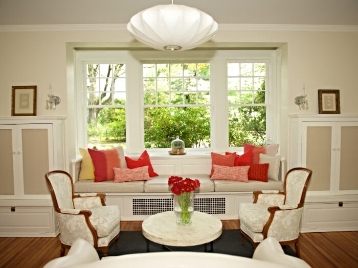 A bright and cheery living room in Pleasantville, NY
