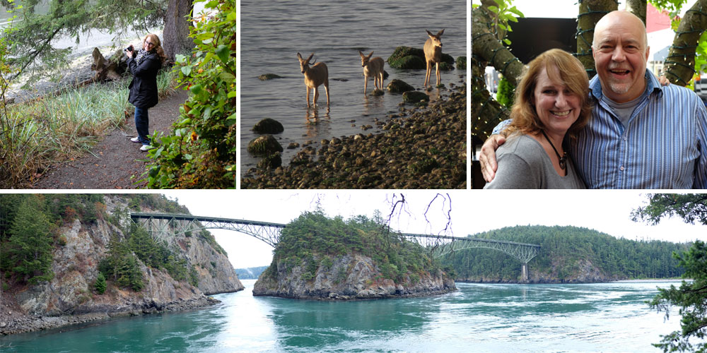L-R - Hiking Deception Pass • Deer on the beach! • With my favorite client, Bruce Solly • View at Deception Pass.