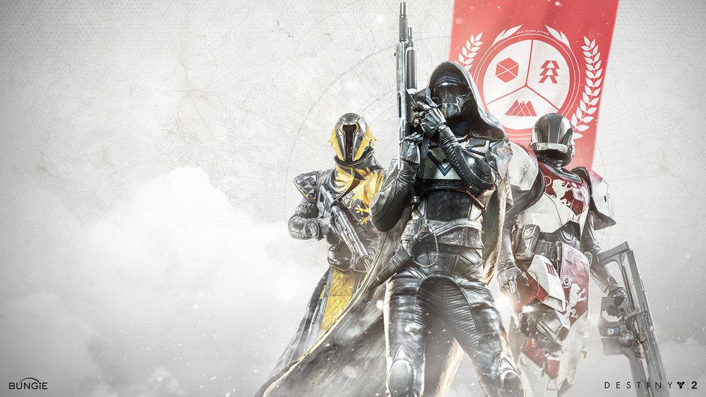 A warlock, hunter, and titan stand ready.