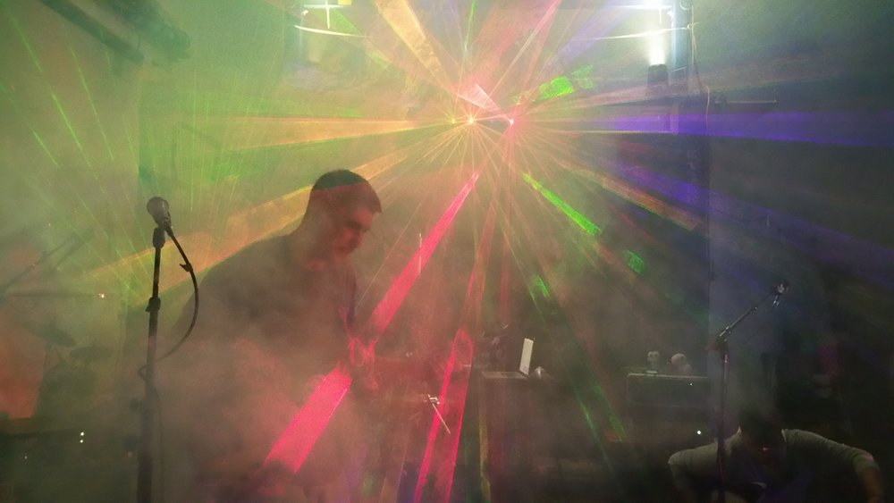 Space Junk shredding from within a laser vortex at The Leisure Lagoon 2015