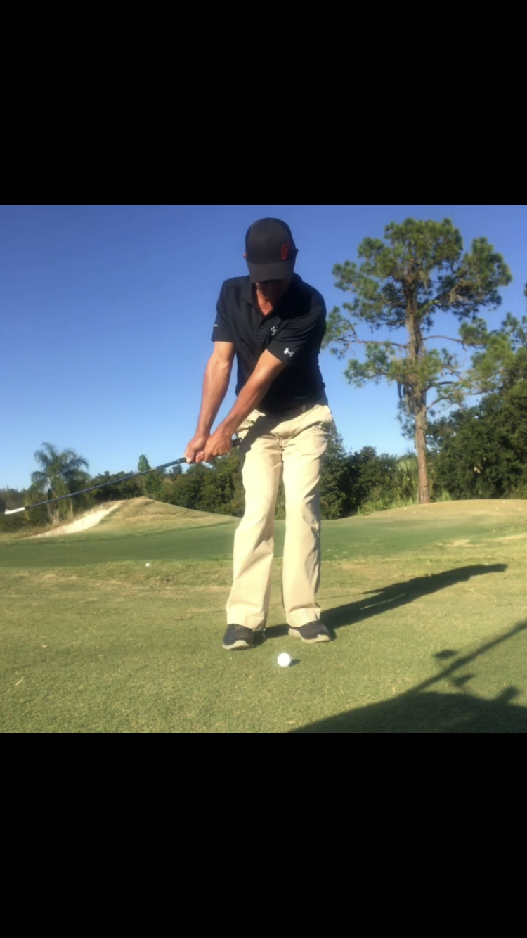 "Stay Left - As I take my backswing, I'm keeping my weight on my lead side.  There is no lateral movement; no slide or sway.  AND VERY LITTLE HINGING MOTION!!!!! The lower body is quiet and I'm basically just turning the ""y"" together (chest, arms, shoulders).I tell my students to take enough backswing so they don't have to jab at the ball to make it go… and to not take too much backswing so they don't decelerate on the shot.My weight remains on my lead side through impact.  No falling back"