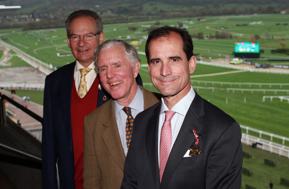 Left to right Cheltenham Racecourse Chairman Robert Waley-Cohen, legendary jockey and owner Charlie Fenwick, and Brown Advisory CEO Mike Hankin.