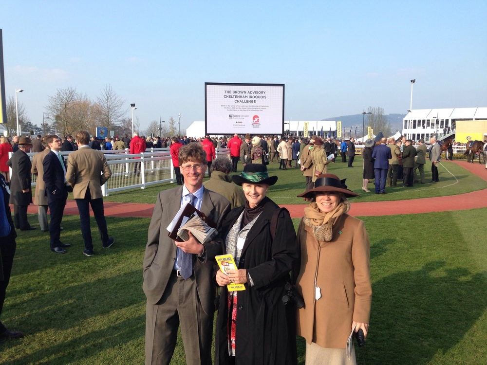 (L-R) Ted Thompson, Marianne Byrd and Ann Webber at the Cheltenham Festival