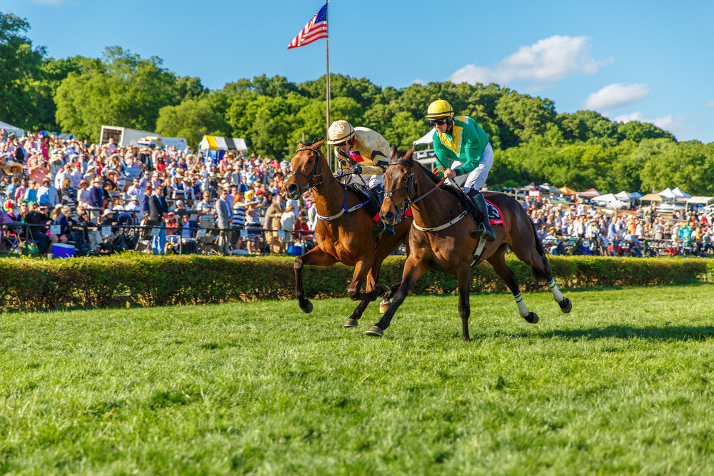 Rawnaq (3) takes the lead over Shaneshill at the Iroquois Steeplechase in May 2016. Photo by Westlight Studios.