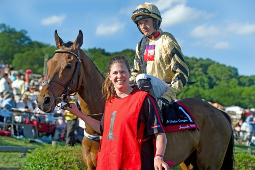 Nichols Canyon and Jockey Ruby Walsh in the Iroquois Steeplechase paddock before last year's third-place finish in the Calvin Houghland Iroquois (Gr. 1). TOD MARKS PHOTO