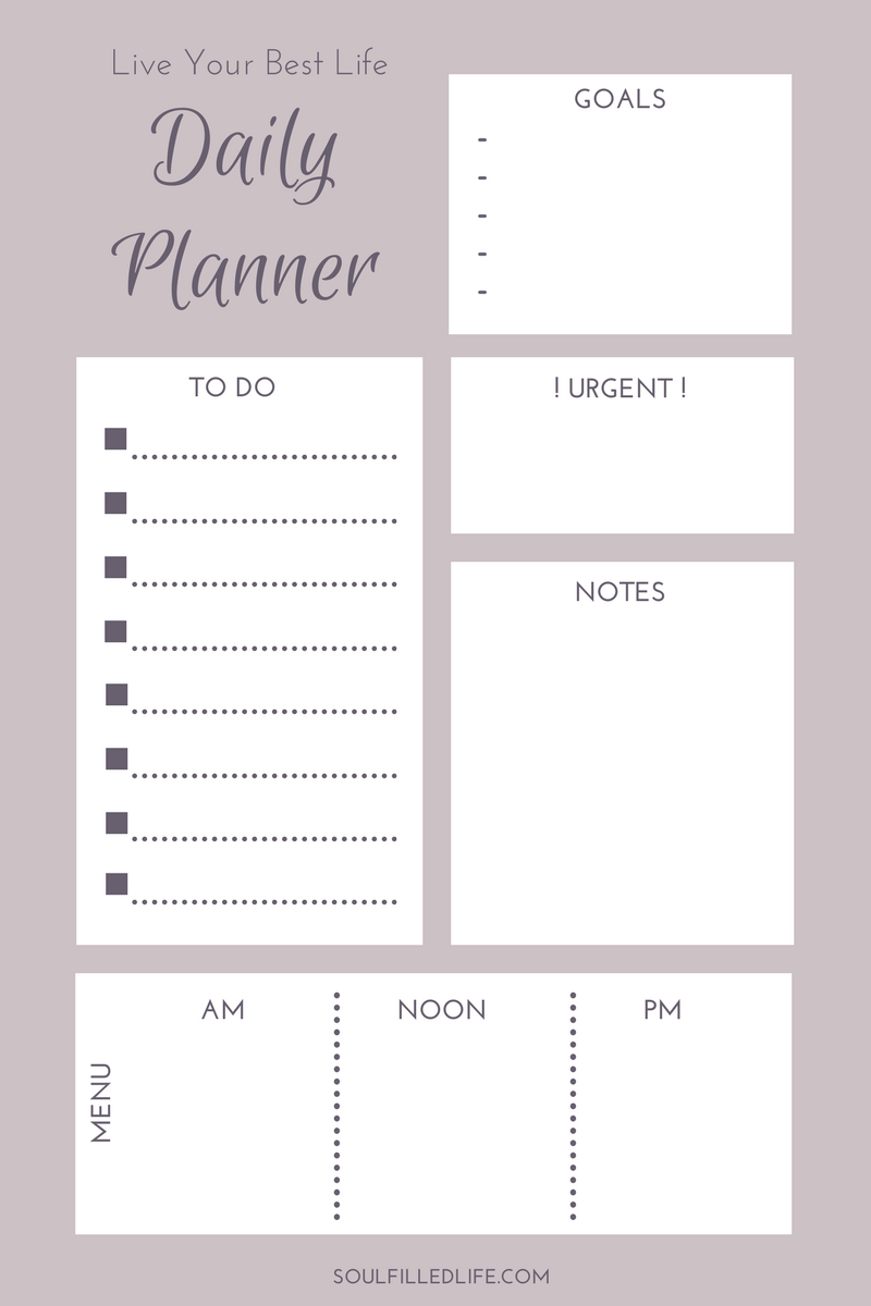Live Your Best LifePrintable Daily Planner (Grey)