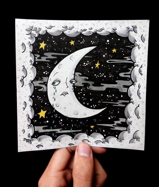 Crying crescent moon print, found via eatsleepdraw on Tumblr.