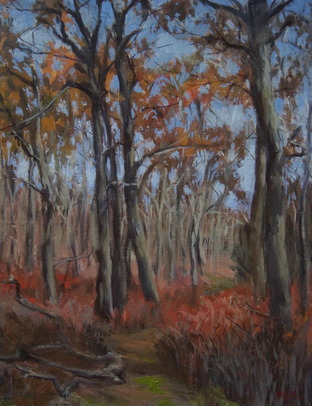 Forest Path, Sag Harbor Oil on panel, 18 x 14, 2016