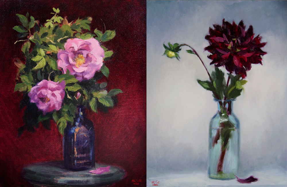 'Old Fashioned roses'-oil on linen and 'Dahlia and bud'-Oil on panel