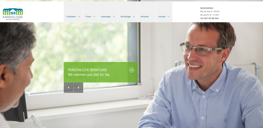 Web Design  by our partners   Cordt   for  doctor's practice specialized in cardiology    www.kardioschlosspark.de